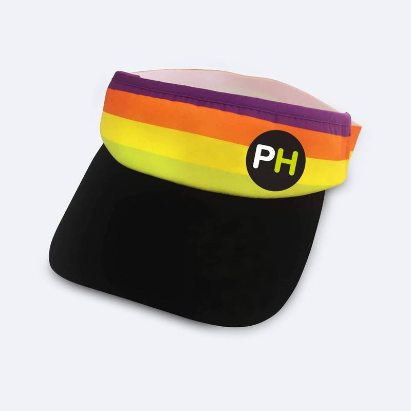 Sports visor with built-in sweatband, wicking material and elastic back strap